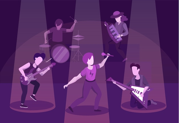 Illustrazione piana di prestazione della banda rock
