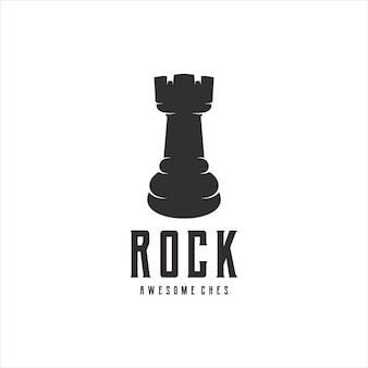 Illustrazione di disegni retrò vintage di scacchi rock