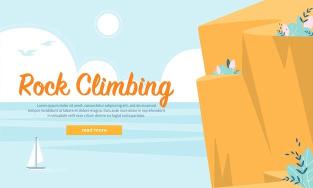 Insegna piana della pagina web di pubblicità di arrampicata