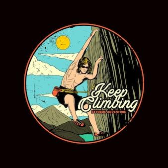 Illustrazione grafica di arrampicata su roccia