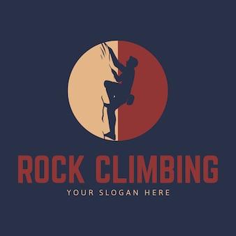 Modello di logo di arrampicata su roccia con sagoma di scalatore e cerchio