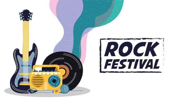 Manifesto dell'invito di intrattenimento del festival rock