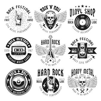 Set di musica rock e heavy metal isolato su bianco