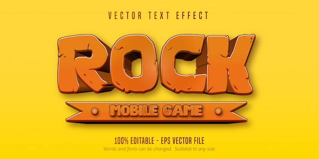 Testo di gioco per cellulare rock, effetto di testo modificabile in stile cartone animato