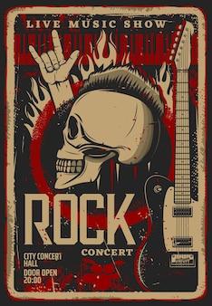 Modello di volantino o poster retrò di musica rock convertito dal vivo