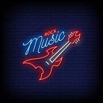 Vettore di testo di stile delle insegne al neon di musica rock