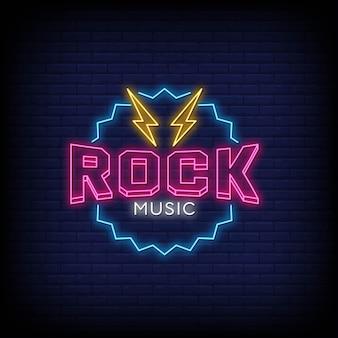 Testo di stile di insegne al neon di musica rock
