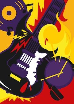 Poster di musica rock con chitarra e batteria. cartello design in stile piatto.