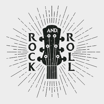 Stampa di musica rock, timbro rock and roll con chitarra. etichetta in stile vintage hipster. progettazione grafica per abiti, t-shirt, abbigliamento. illustrazione vettoriale.