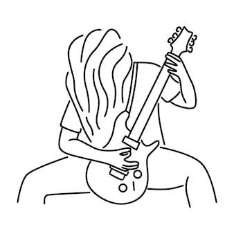Il musicista rock suona la chitarra elettrica