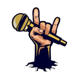 Rock n roll mano che tiene il microfono