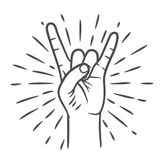 Rock n roll o gesto della mano heavy metal. due dita in alto. gesto della mano rock. corno