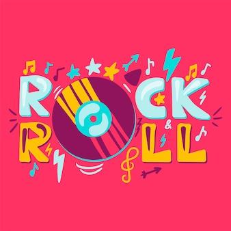 Etichetta rock n roll con vinile. simbolo di musica retrò. segno di metallo pesante. vettore