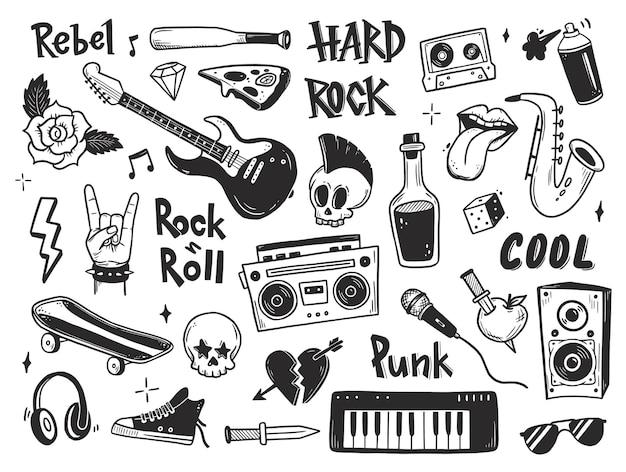 Set di scarabocchi di musica punk rock n roll