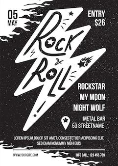Rock and roll black white vector banner design per il concerto di musica. poster di stampa retrò fulmine per musicista. modello di volantino di stampa pubblicitaria con testo per evento. sfondo di copertina creativa