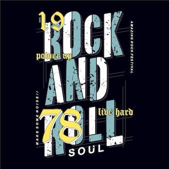 Tipografia grafica rock and roll sull'illustrazione del design del tema musicale per la maglietta stampata
