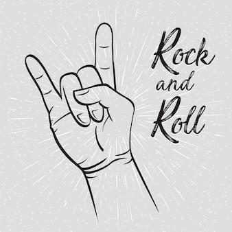 Gesto della mano di rock and roll