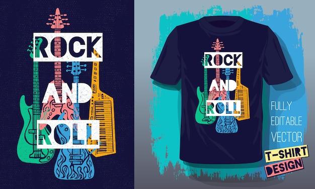 Musica rock and roll scritta slogan stile retrò schizzo chitarra elettrica, chitarra basso, pianoforte per il design di t-shirt