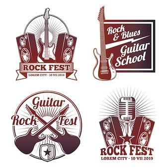 Etichette vettoriali di musica rock and roll. emblemi di metalli pesanti dell'annata isolati