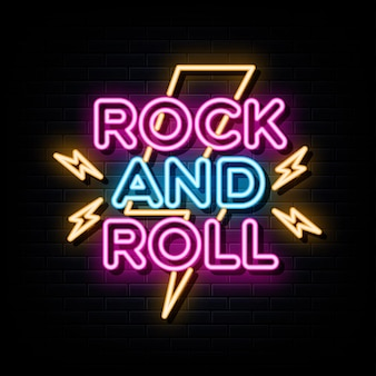 Insegne al neon rock and roll modello di progettazione vettoriale insegna al neon