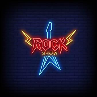Insegne al neon di rock show logo