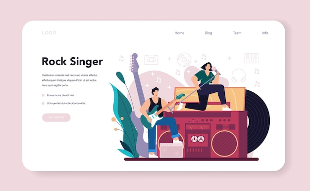 Banner web o pagina di destinazione del cantante rock