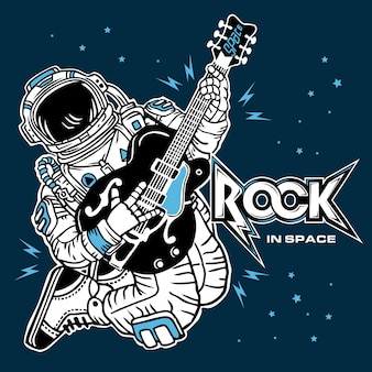 Rock in space - the astronaut playing guitar