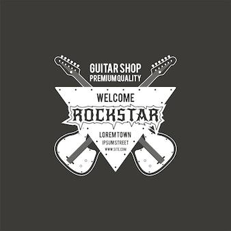 Etichetta di vettore del negozio di chitarra rock star, distintivo, logo emblema con strumento musicale. stock illustrazione vettoriale isolato su sfondo scuro.
