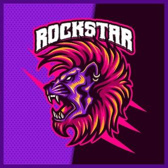 Rock-star lion mascotte esport logo design illustrazioni modello vettoriale, logo tiger per gioco di squadra streamer youtuber banner contrazione discordia, stile cartone animato a colori