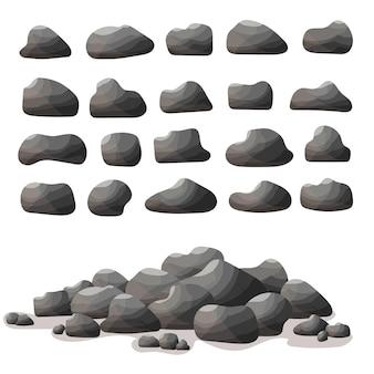 Fumetto di pietra di roccia in stile piatto. set di diversi massi. mucchio di pietre naturali.