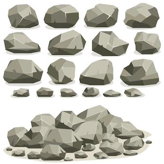 Fumetto di pietra di roccia in stile piatto isometrico. set di diversi massi. mucchio di pietre naturali.