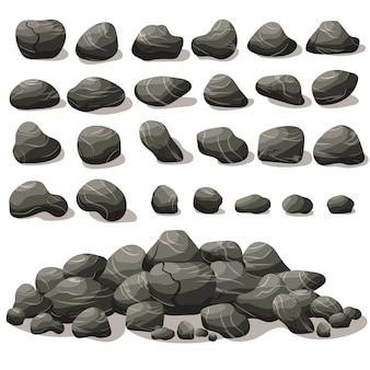 Fumetto di pietra di roccia in isometrico. set di diversi massi. mucchio di pietre naturali.