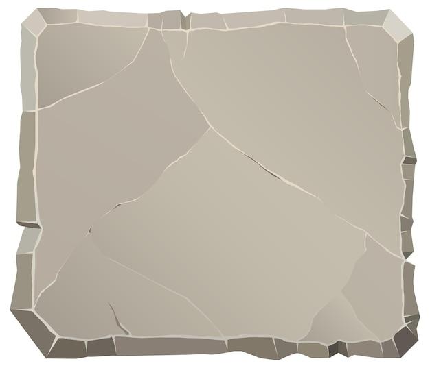 Fumetto di vista frontale di pietra di roccia. masso rotto poligonale. sfondo naturale.