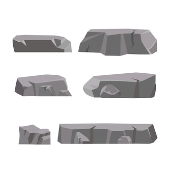 Fumetto stabilito della pietra della roccia. pietre e rocce in stile piatto 3d isometrico. set di diversi massi