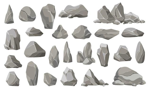 Pietre rocciose e detriti della montagna. ghiaia, pietra grigia. collezione di pietre di varie forme.