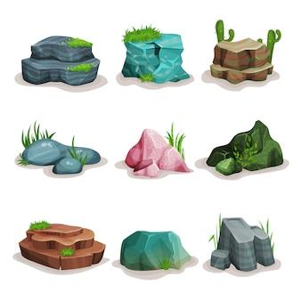 Set di pietre di roccia, massi con erba, elemento di design del paesaggio naturale illustrazioni su uno sfondo bianco