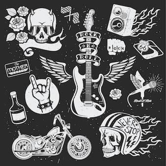 Distintivi a tema rock. insieme di vettore. set di simboli vettoriali relativi al rock and roll.