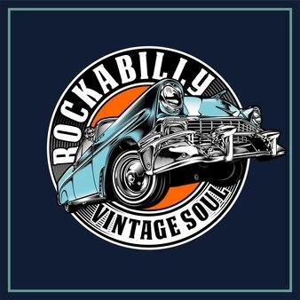 Rockabilly con illustrazione grafica di auto d'epoca