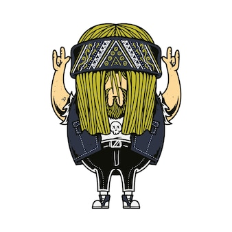 Rocker character musica cartoon illustration art design