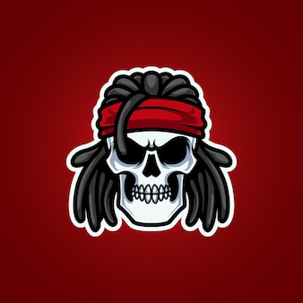 Logo mascotte con testa di teschio rocker