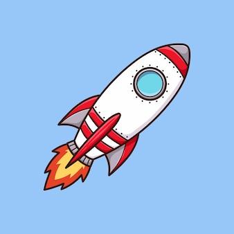 Vettore del fumetto di arte del razzo isolato