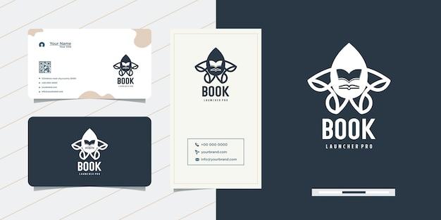 Design del logo del libro del razzo e biglietto da visita
