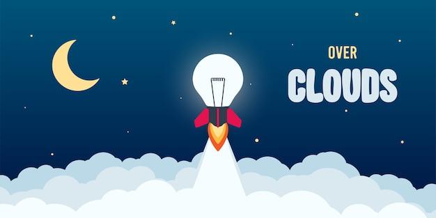 Lancio della lampadina del razzo nel cielo volando
