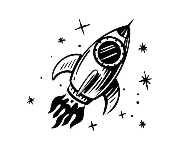 Scarabocchio di razzo fumetto di schizzo spaziale