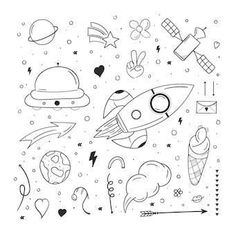 Scarabocchio del razzo con il concetto di spazio