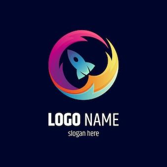 Design del logo del fuoco del razzo