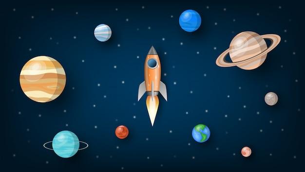 Razzo che vola nell'universo con i pianeti del sistema solare