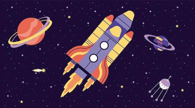 Illustrazione di scena spaziale di volo e pianeti del razzo