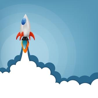Razzo che vola nello spazio, concetto di avvio, modello di banner di progettazione, illustrazione vettoriale.