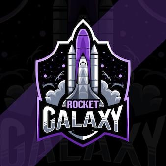 Progettazione del modello esport logo mascotte razzo galassia